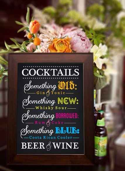 What drinks will you have in your open bar?