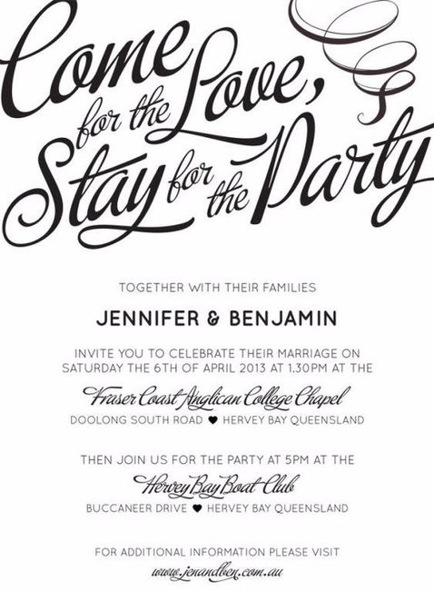 5 original invitation wording ideas plan a wedding forum come for the love stay for the party stopboris Choice Image