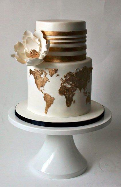 10 travel theme wedding cakes wedding reception forum weddingwire elegant world map 2 travelling boxes gumiabroncs Gallery