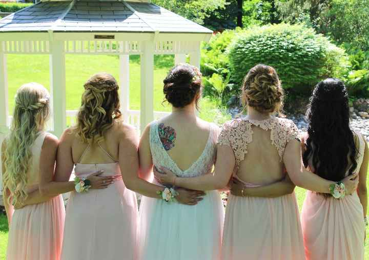 Bridal party and bride