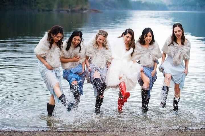 bridesmaids in the rain in a late rain boots