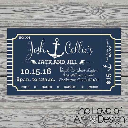 Jack & Jill Stag & Doe party ticket invitation