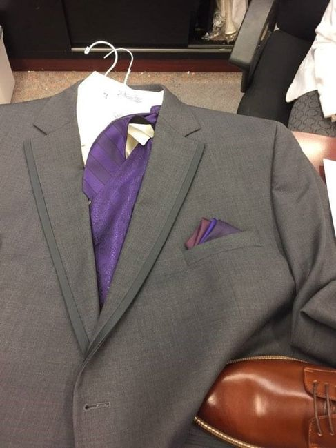 Purple vest, tie and pocket square for groomsmen
