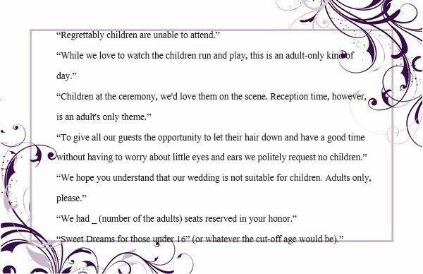 Invitation wording for no children 1