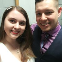 Our most recent pic at our Wedding Social (2 years 1 month in)