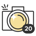 Shutterbug. Photographers take note! Your photos are an inspiration to us all. This badge is granted when you've posted 20 photos.